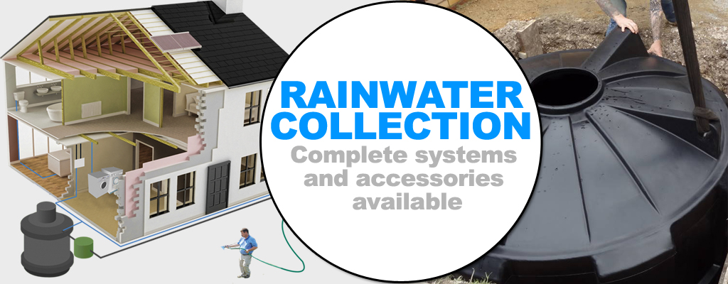 rainwater collection, complete systems and accessories available
